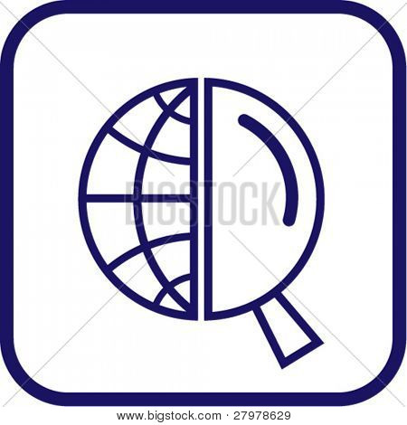 Vector globe and magnifying glass icon. Simply change.