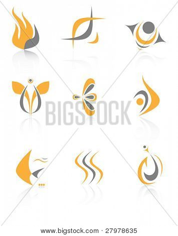 Vector abstract internet icons. Orange set. Simply change.