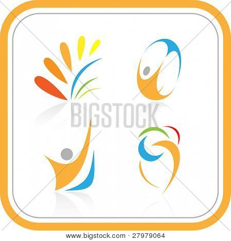 Vector abstract internet icons. Color set. Simply change. Other abstract icons you can see in my portfolio.