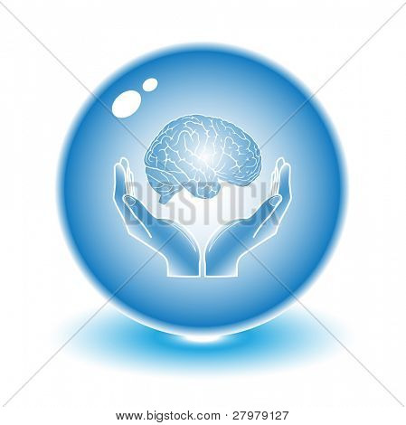 Protection of brain. Vector brain illustration. Simply change. Other medical vectors you can see in my portfolio.