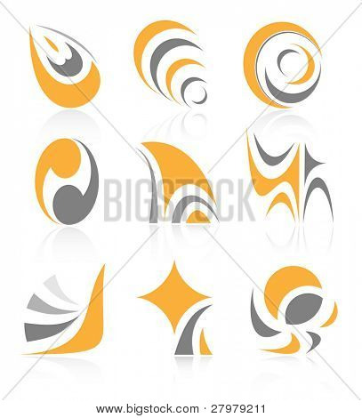 Vector abstract internet icons. Orange set. Simply change. Other abstract icons you can see in my portfolio.
