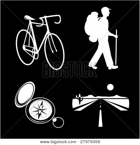 A set of travel icons. Black and white set. Simply change. Other travel icons you can see in my portfolio.