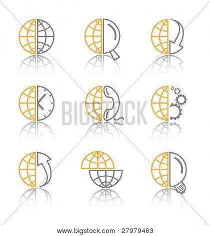 Iconos de internet Resumen Vector. Conjunto naranja. Simplemente cambiar. Otros iconos de resumen que se puede ver en mi po