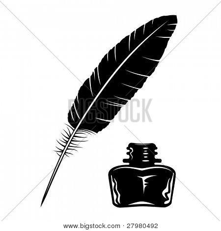 Icono de botella de pluma y tinta de Vector