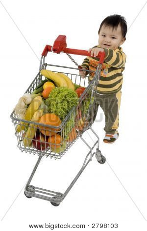 Baby With Shopping Cart