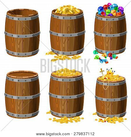 Set Of Wooden Barrels With
