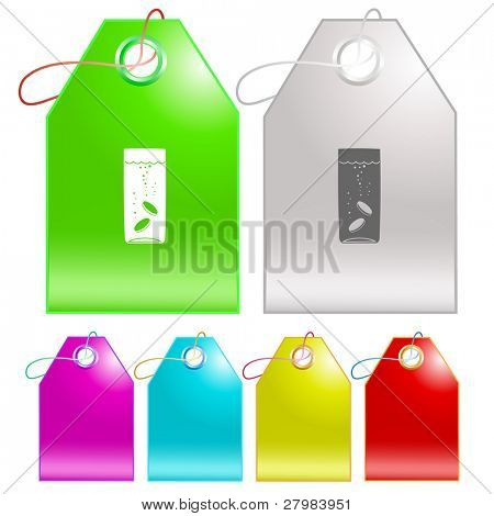 Glass with tablets. Vector tags.