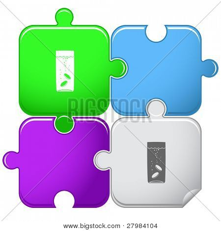 Glass with tablets. Vector puzzle.