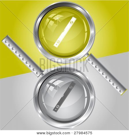 Spirit level. Vector magnifying glass.