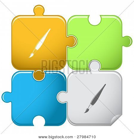 Brush. Vector puzzle.