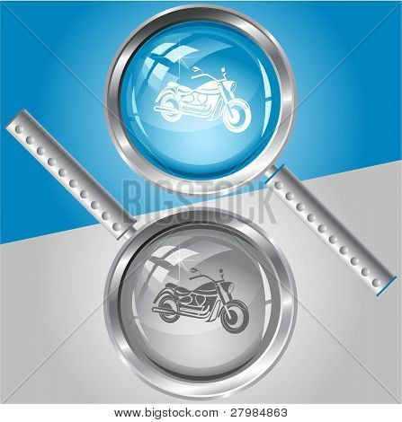 Motorcycle. Vector magnifying glass.