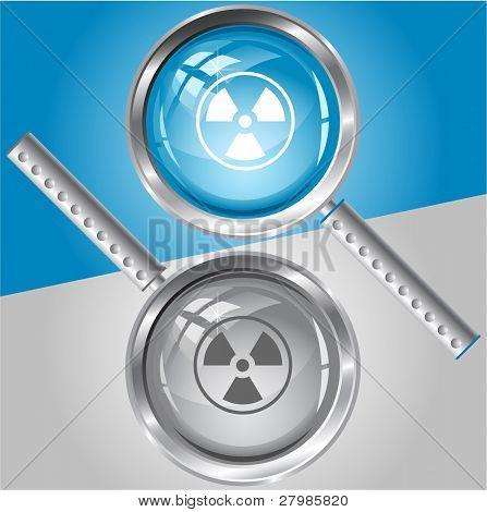 Radiation symbol. Vector magnifying glass.