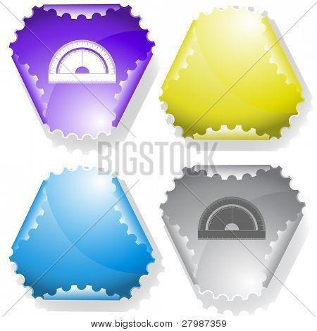 Protractor. Vector sticker.