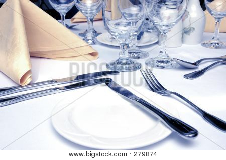 Formal Dinner Setting In Cool Lighting