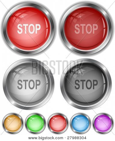 Stop. Vector internet buttons.