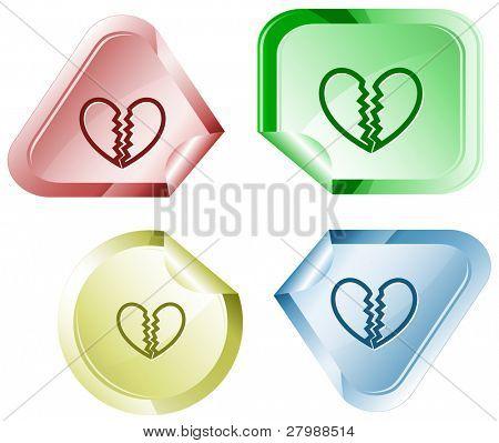 Unrequited love. Vector sticker.