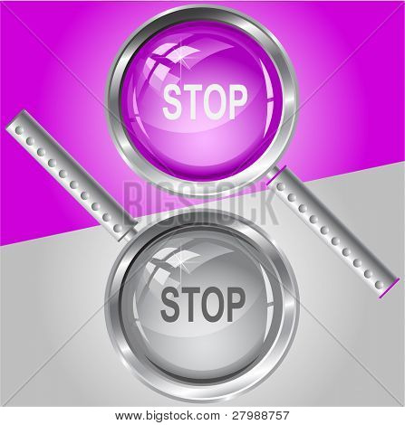 Stop. Vector magnifying glass.