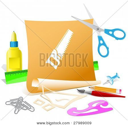 Hand saw. Vector paper template.