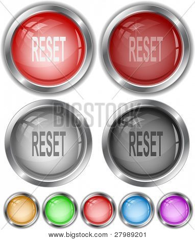 Reset. Vector internet buttons.