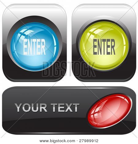 Enter. Vector internet buttons.