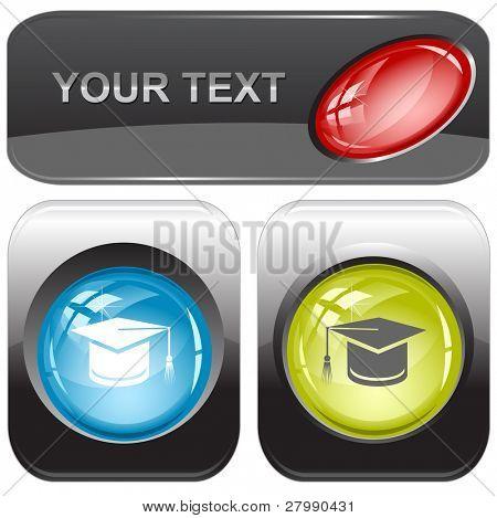 Graduation cap. Vector internet buttons.