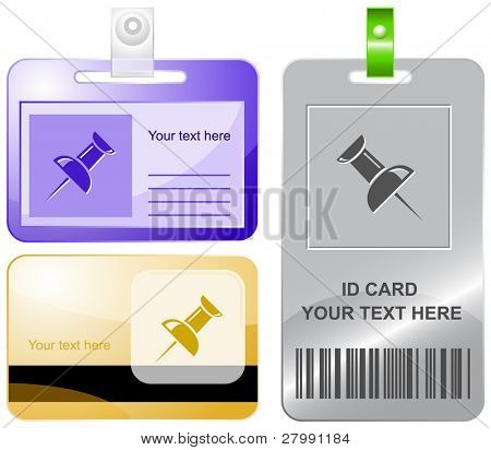 Push-Pins. Vektor-Id-Karten.