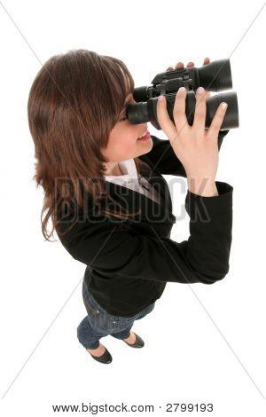 Businesswoman Using Binoculars