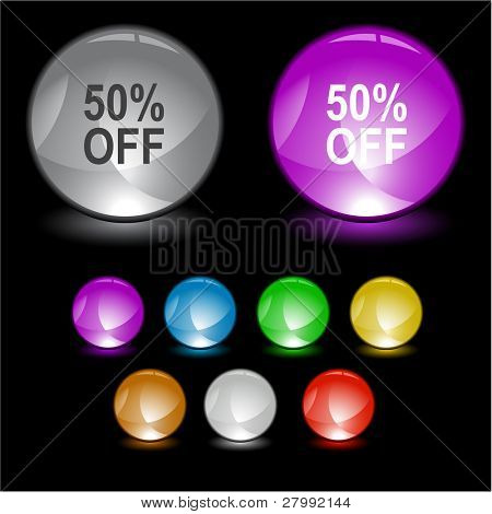 50% OFF. Vector interface element.