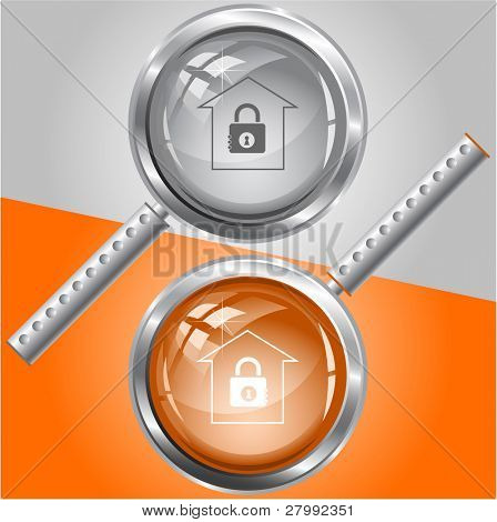 Bank. Vector magnifying glass.
