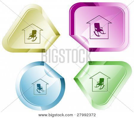 Home comfort. Vector sticker.