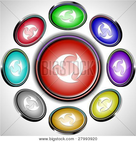 Abstract recycle symbol. Vector internet buttons. 8 different projections.