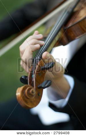 Closeup Of Person Playing Violin