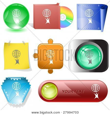 Little man with globe. Vector internet buttons.