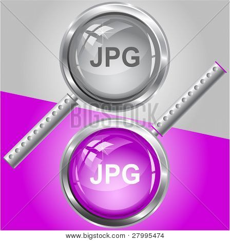 Jpg. Vector magnifying glass.