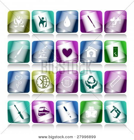 Vector set of internet buttons. 20 elements.