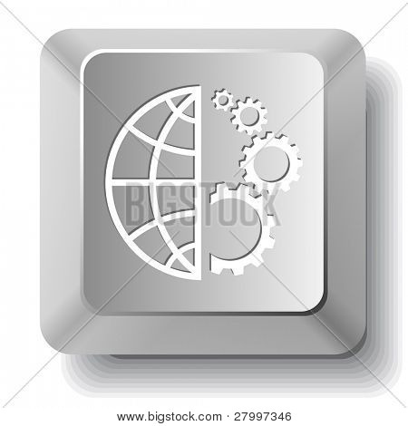 Globe and gear. Vector computer key.