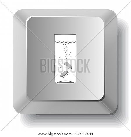 Glass with tablets. Vector computer key.