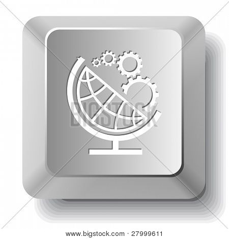 Globe and gears. Vector computer key.