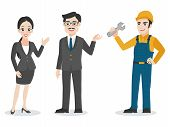 Businessman, Set Of Business Characters Adult Smart Guys Man Woman And Repairman Flat Design On Whit poster