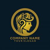 Luxurious Vector Logo For Woman Salons And Shops, A Young Beautiful Woman Stylized With Flower Hair, poster