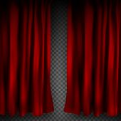 Realistic Colorful Red Velvet Curtain Folded On A Transparent Background. Option Curtain At Home In  poster