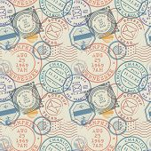 Seamless Pattern With Visa Rubber Stamps On Passport With Text Boston, Houston, Taxas, Memphis, San  poster