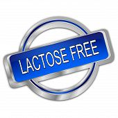 Silver Dark Blue Lactose Free Button - 3d Illustration poster
