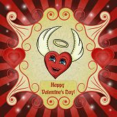 Vector Color Illustration On The Theme Of Valentines Day, Heart With Angel Wings And A Halo, Ready F poster