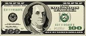 image of one hundred dollar bill  - A detailed vector drawing of a one hundred dollar bill - JPG