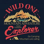 Outdoor Expedition Typography. Adventure T-shirt Print Vector poster