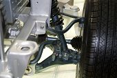 foto of veer  - a car suspension assemblies with wheel .