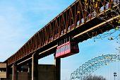 pic of memphis tennessee  - Memphis Suspension Railway bridge to Mud Island - JPG