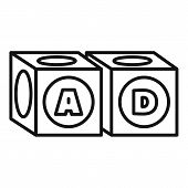 Alphabet Cube Icon. Outline Alphabet Cube Vector Icon For Web Design Isolated On White Background poster