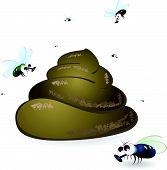 stock photo of feces  - Cartoon feces and flies - JPG
